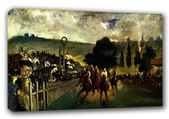 Manet, Edouard: Races at Longchamp. Horse Racing Fine Art Canvas. Sizes: A3/A2/A1 (00176)